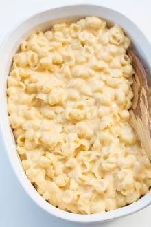 Mac and Cheese in a ceramic baking pan