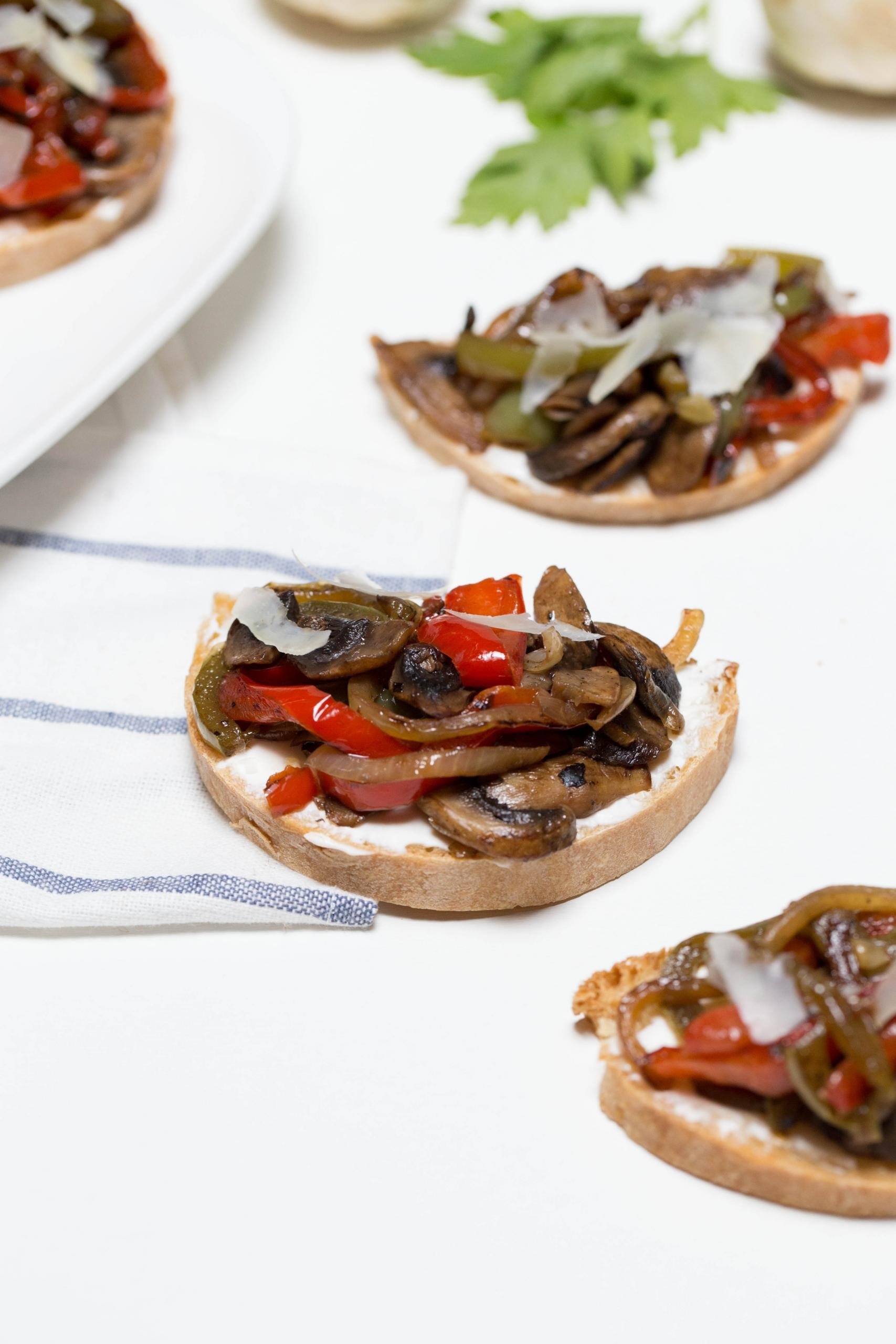 Mushroom Bell Pepper Canapes on a table