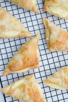 Sweet Cheese Bourekas on a baking rack