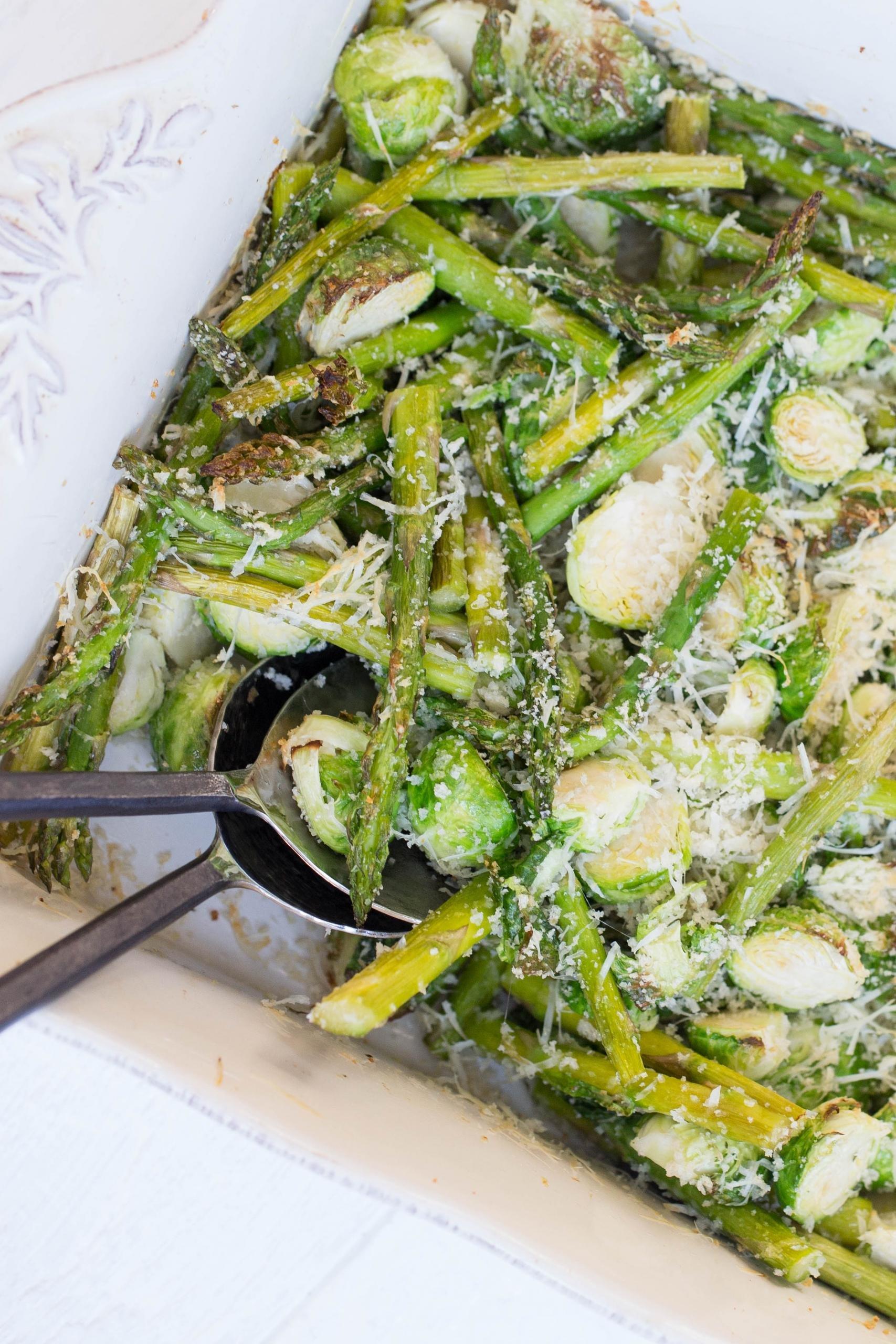 Parmesan Panko Roasted Veggies in a baking dish