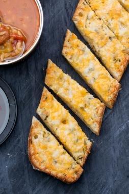 Cheesy Bread on a cutting board