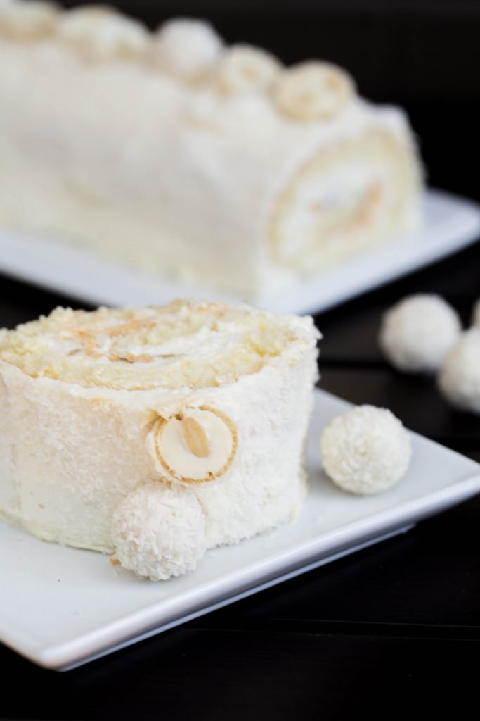 Raffaello Cake Roll slice on a plate