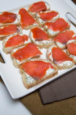 Salmon Tea Sandwiches on a plate
