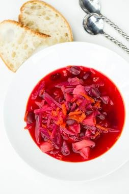 Russian Red Borscht Recipe in a bowl