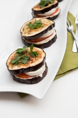 Eggplant Sandwiches in a row on a long plate