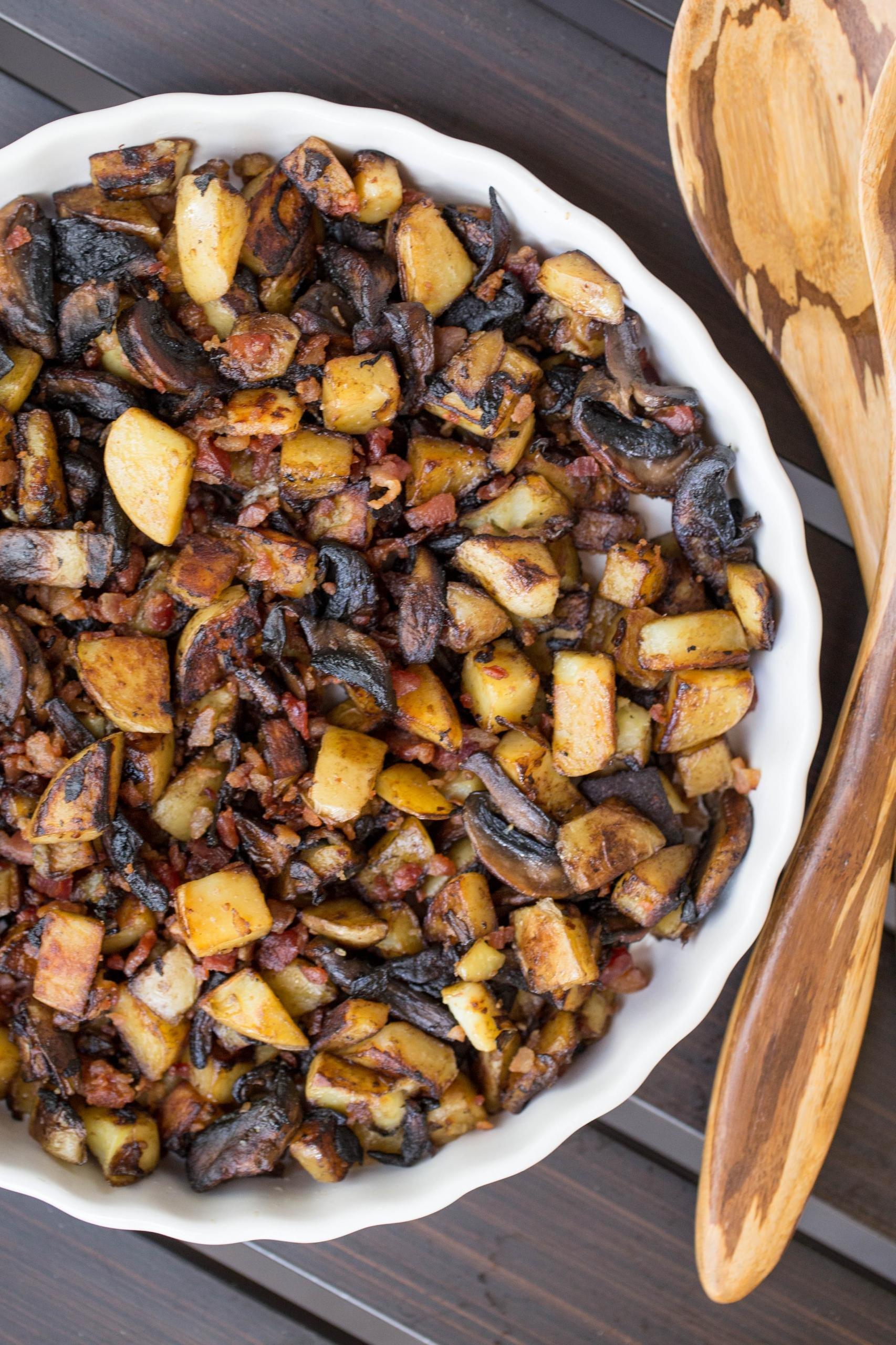Potato Mushroom Breakfast in a serving tray