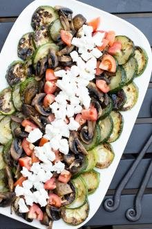 Zucchini Mushroom Salad laid out on plate