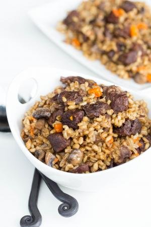 Slow-Cooker Beef and Barley in a bowl