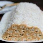 Napoleon Log Cake on a plate