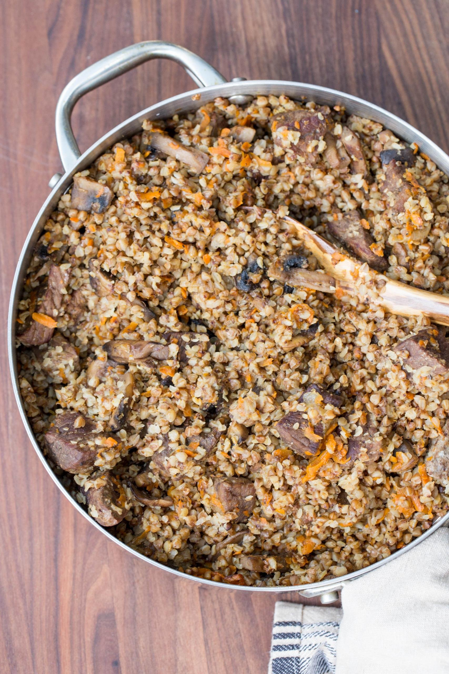 Stewed Buckwheat and Beef in a deep skillet