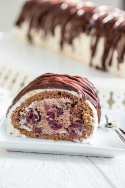 Drunken Cherry Cake Roll on a plate