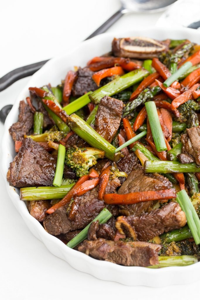 best beef stir fry recipe in a serving tray