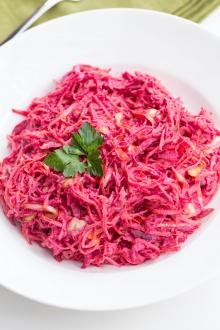 Beet Carrot and Cabbage Salad in a plate