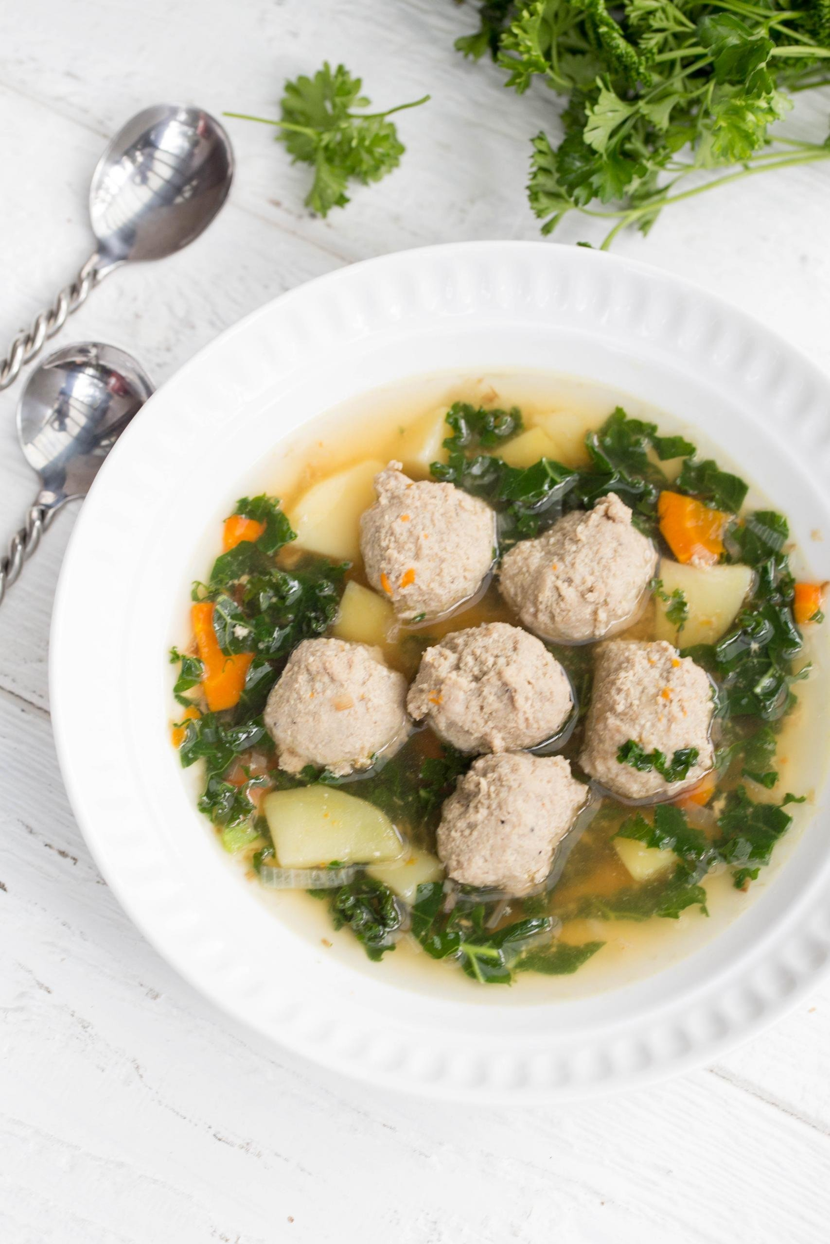 Meatball Kale Soup in a bowl