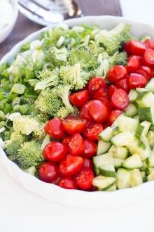 Broccoli Cucumber and Tomato Salad in bowl