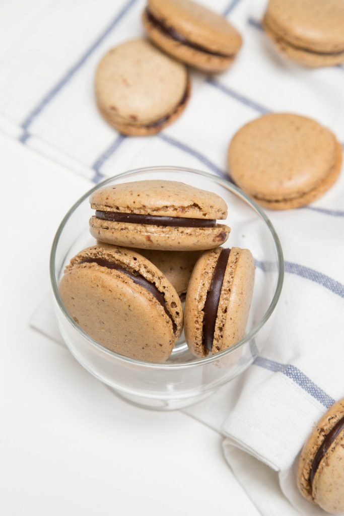 Coffee Macarons in a little bowl