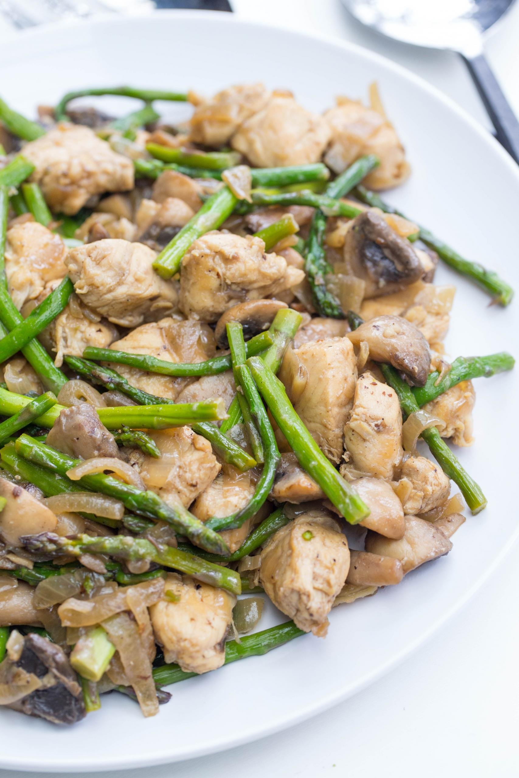 Chicken and Mushrooms with Asparagus on a plate
