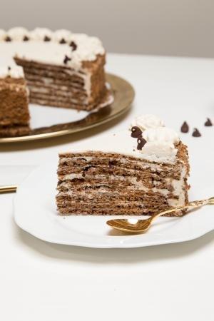 Chocolate-honey Layer Cake slice on a plate