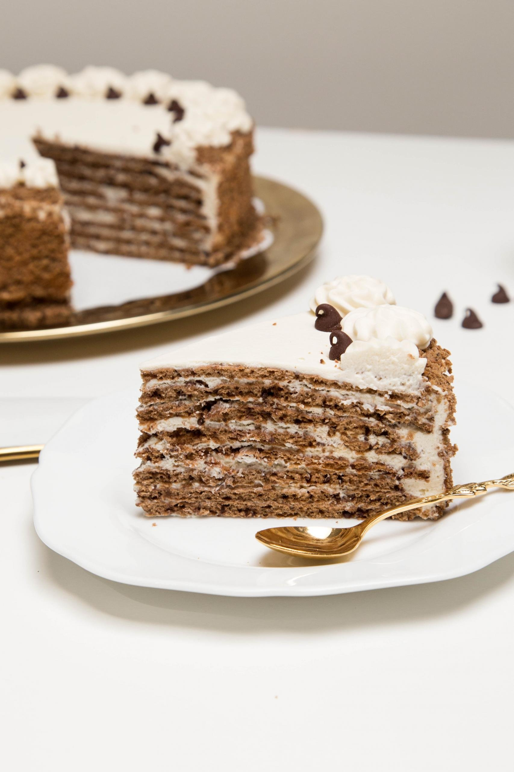 Chocolate-honey Layer Cake slice on a plate