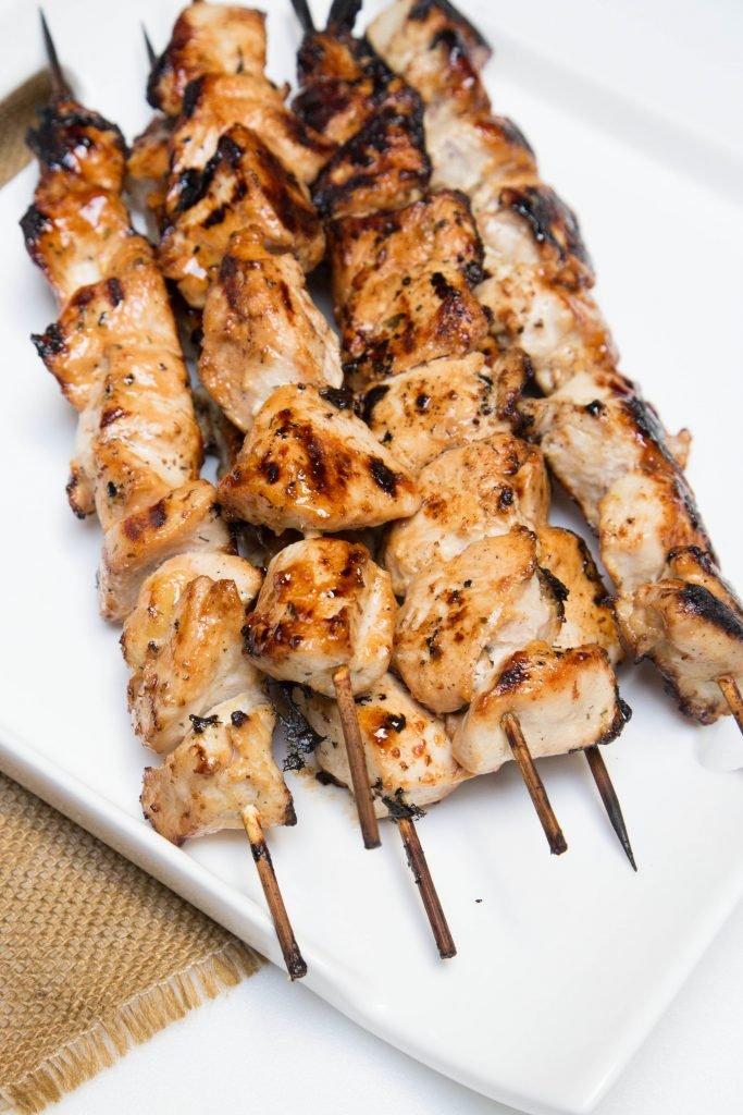 Moist Honey Chicken Skewers on a plate