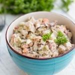 Mushroom Chicken Salad in a bowl