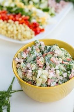 Russian Cobb Salad in a bowl