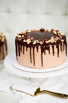 Chocolate Hazelnut Cake on a serving tray