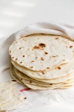 Tortillas in a kitchen towel