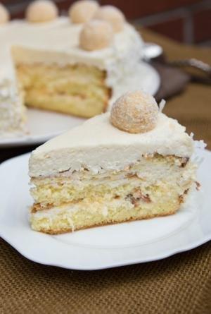 A slice of Ferrero Raffaello Cake on a plate