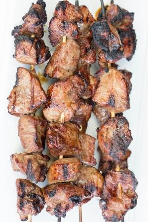 close up of lamb kabobs