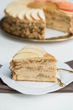 A slice of caramel Apple Cake on a plate