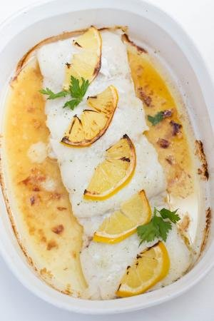 Buttered Cod in a ceramic baking pan
