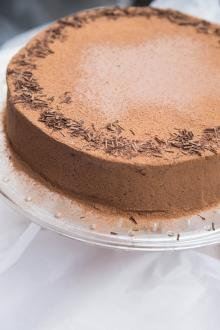 Chocolate Liqueur Cake on a serving tray
