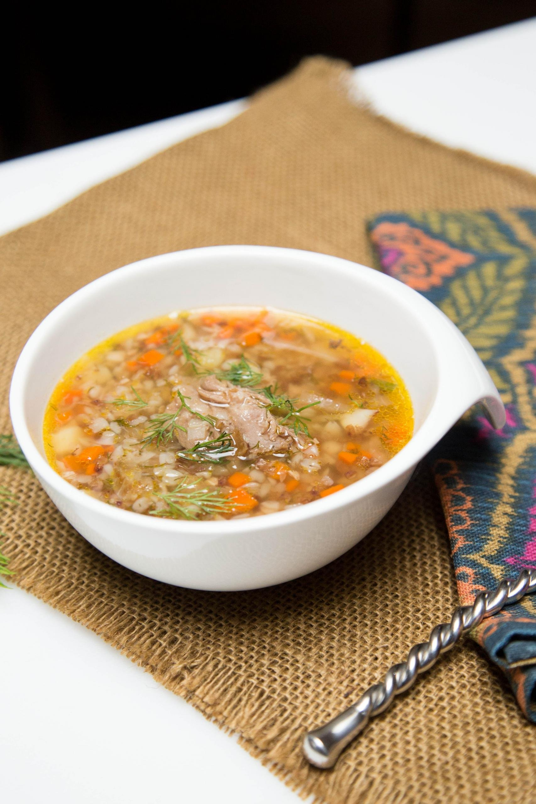 Healthy Buckwheat Soup in a bowl
