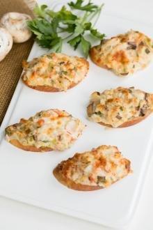 5 Crab Mushroom Canapés on a plate