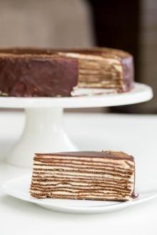 Chocolate Layer Cake (aka Spartak Cake) slice on a plate