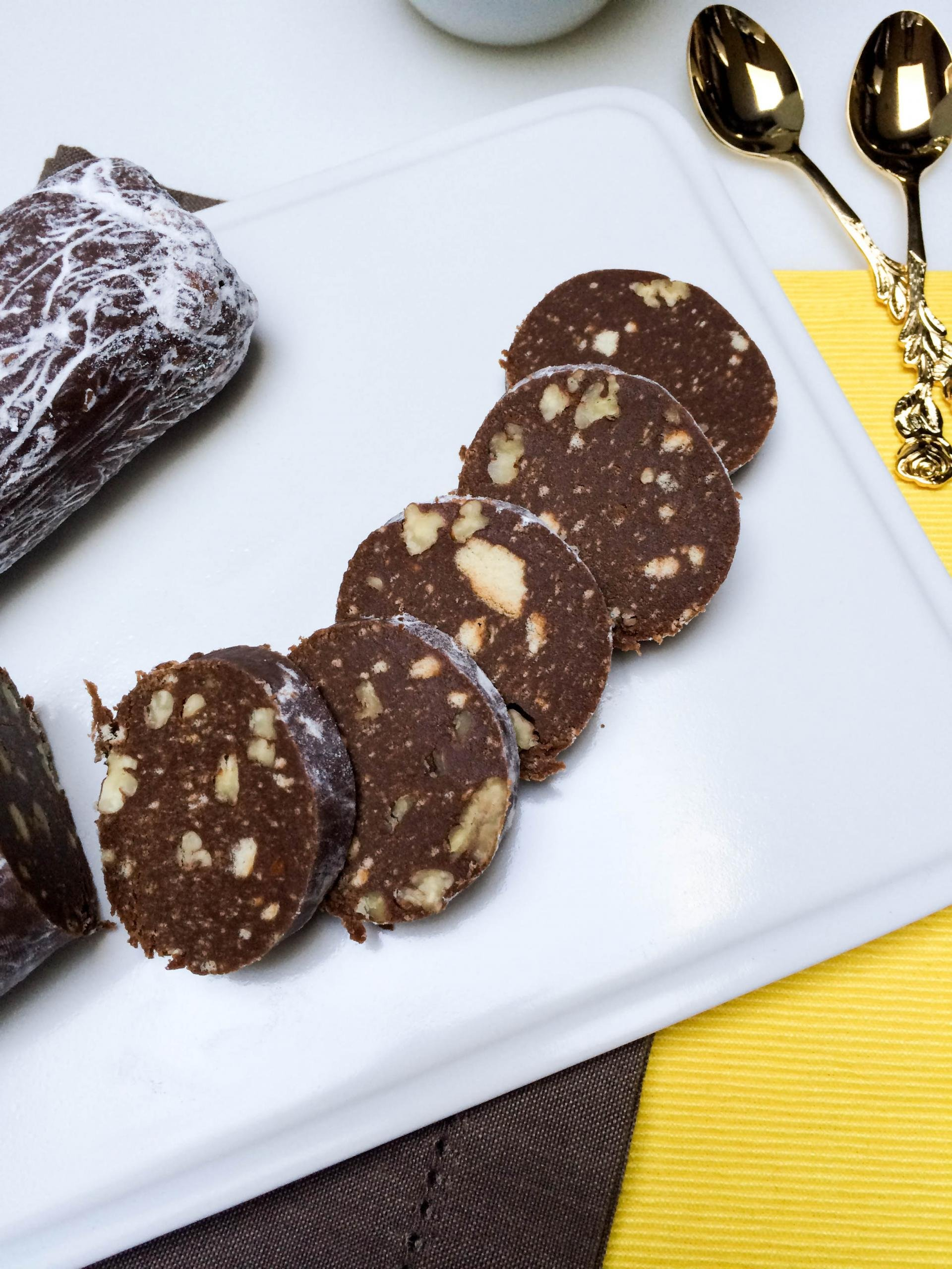 Chocolate Salami cut into slices on a plate