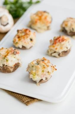 Crab Stuffed Mushrooms on a plate