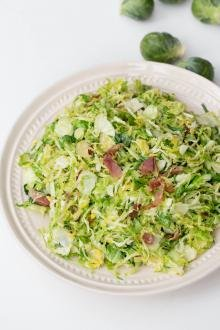 Bacon Brussel Sprouts Salad on a plate
