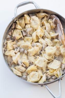 Creamy Mushroom Tortellini in a deep skillet