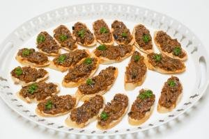 Hummus Eggplant Canapes on a large serving tray
