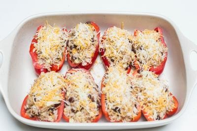 Mexican Stuffed Bell Peppers in a baking dish