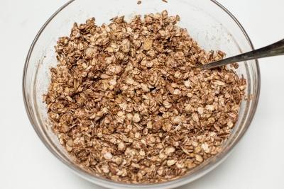 Chocolate Raspberry Granola mixture in a bowl