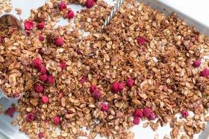 Chocolate Raspberry Granola on a baking pan