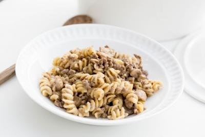One Pot Beef Mushroom Pasta in a bowl