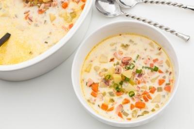 Salmon Chowder in a bowl