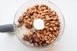 Sugar-Free Coconut Bar ingredients all placed into a food processor