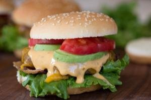 A burger on a cutting board