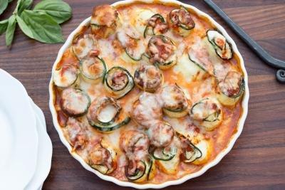 Zucchini Roll-Ups in a baking pan