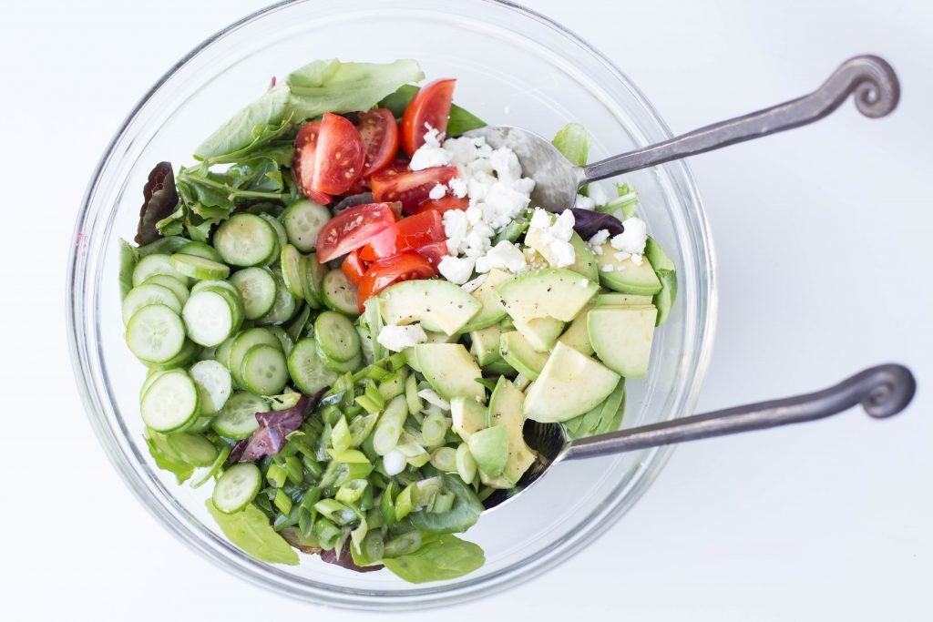 Ultimate Garden Salad ingredients in a bowl